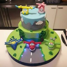 Super wings cake Airplane Birthday Cakes, Birthday Cake Kids Boys, 3rd Birthday Cakes, 6th Birthday Parties, Third Birthday, Bolo Superwings, Bolo Fake Eva, Lincoln Birthday, Teddy Bear Cakes