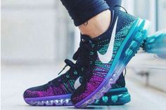 Nike Flyknit Air Max Womens Blue Black Shoes