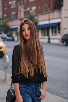 long ombré + red lip #hair