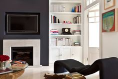 Browse through the best Minimal living room photos and find inspiration for interior design ideas and home decor style at Redonline. Alcove Storage, Alcove Shelving, Alcove Cupboards, Wall Shelves, Shelving Ideas, Living Room Shelves, My Living Room, Living Room Decor, Chimney Decor