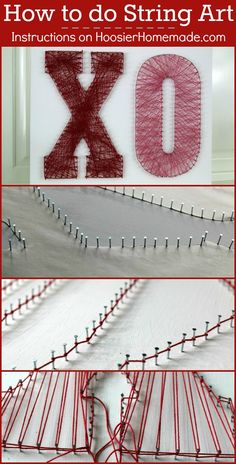String Art Project - Create this cool Valentine's Day decoration with just a few supplies! Pin to your Craft Board!