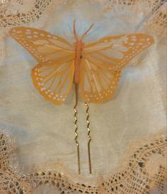 Pin mariposa naranja pastel de plumas para el pelo de SevillaClass en Etsy