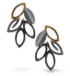 Midnight Leaf Cluster Earrings: Danielle L. Miller: Gold & Silver Earrings | Artful Home