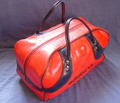 Vintage retro 70s Red/Blue vinyl Adidas gym bag