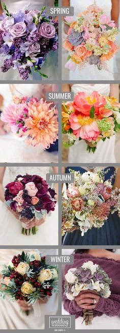 Wedding Color Palate Ideas ~ Spring + Summer + Autumn + Winter Bouquet Ideas for every season