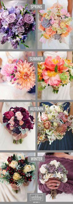 Wedding Color Palate Ideas ~ Spring + Summer + Autumn + Winter Bouquet Ideas for every season