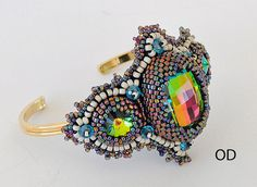 Natasha Bracelet Beaded Embroidery Green or Brown by Olgaterranova, $40.00