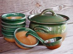 Elk Falls Pottery, Soup Tureen and Ladle