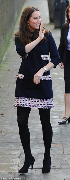 Yummy mummy: The Duchess of Cambridge arrives at the Barlby Primary School in London's Ladbroke Grove