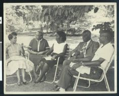 Septima Clark meets with a group of African-American students, Highlander Folk School, Monteagle, Tennessee, ca. 1958 :: Charlotta Bass / California Eagle Photograph Collection, 1870-1960 #RosaParks #SCLC