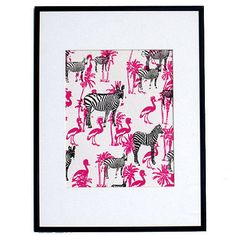 'Zebras and Tropical Birds' Art print by Tania Fernandes. Funky Fresh print #LessOrdinaryBedroom #NotOnTheHighstreet