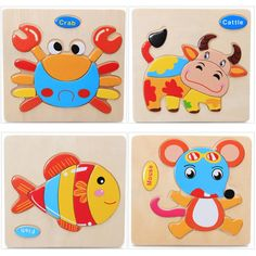 3pcs Wooden Toys Puzzle Cartoon Animals Puzzle Baby Educational Toys for Children Randomly Sent
