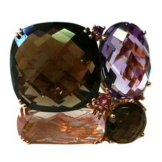 Coach House Smokey Quartz Amethyst Diamond Gold Ring ($3,800) ❤ liked on Polyvore featuring jewelry, rings, purple, gold gemstone rings, cushion-cut rings, pink ring, yellow gold gemstone rings and oval ring
