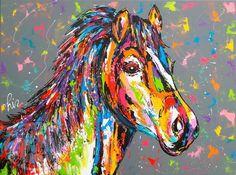 Vrolijk Schilderij van een kleurrijk paard