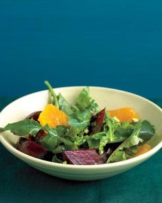 Beet Salad with Arugula and Oranges Recipe. Beets add not only bright-red color to this arugula side salad but also lots of nutrition. Peeling and cutting the beets into small pieces reduces their cooking time.