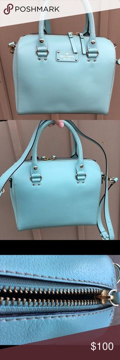 kate spade Alessa Wellesley Also includes kate spade dust bag!  Aqua blue (robinsegg 361) with gold detailing. Bag is in good condition with very minimal wear, can be worn as a satchel or used as a handbag. Outer shell: 100% cow leather kate spade Bags