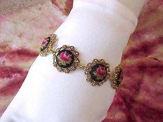 Petitpoint Bracelet with Deep Pink RosesA by TheJewelMystique, $35.00
