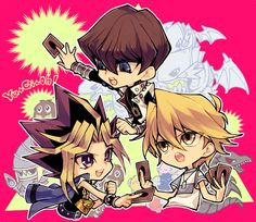 Yami, Jonouchi, Kaiba, Kuriboh and Blue Eyes White Dragon Chibi