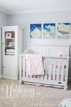 Simple nursery with cloud photos above crib Blogger Home, Diy Signs, French Country Decorating, Creative Home, Christmas Home, Decoration, Toddler Bed, Room Decor, Diy Projects