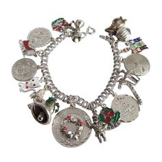 Vintage Sterling Silver Christmas Charm Bracelet Beau Wells Elco | Amanda Jo