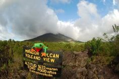 Javi the Frog with magestic Arenal Volcano - Arenal Volcano National Park, Alajuela
