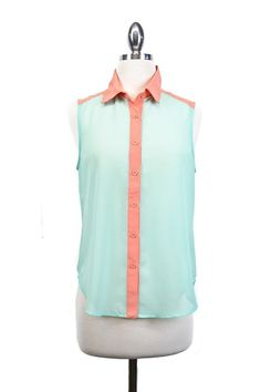 Mint and coral contrast blouse