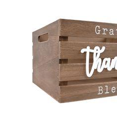 Grateful Thankful Blessed 13.4'W x 9.5'H Dark Brown Decorative Nesting Storage Crates, Set of Three