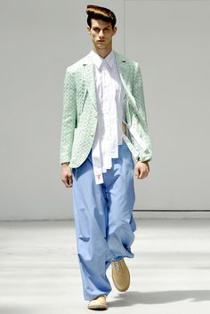 Walter Van Beirendonck - Spring 2012. Here, Van Beirendock has deconstructed the basic mens shirt. This is a very interesting technique, one that I have been exploring in terms of draping with deconstructed second hand menswear garments. It aids the developing process when using a pre-existing garment and appropriating it in a different way.
