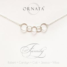 """""""Family of Five"""" Personalized Sterling Silver Necklace 