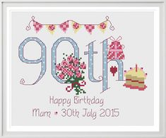 90th Birthday Sampler Kit - Nia Cross Stitch