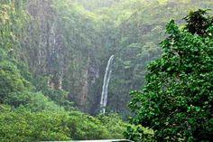 Rain forest waterfall in Papeete, Tahiti.