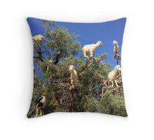 Goats in an argan tree Throw Pillow