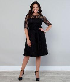 Plus Size Black Luna Lace Cocktail Dress - Unique Vintage - Cocktail, Pinup, Holiday & Prom Dresses.