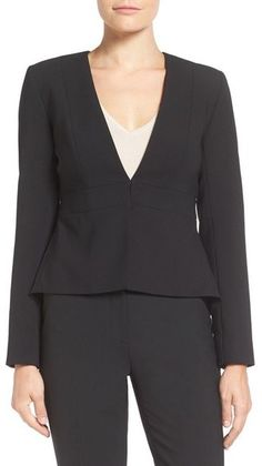 Ellen Tracy Peplum Back Suit Jacket - An inset waistband and gracefully dipped peplum in back create figure-flattering lines for a V-neck jacket tailored from stretch-infused, double crepe.