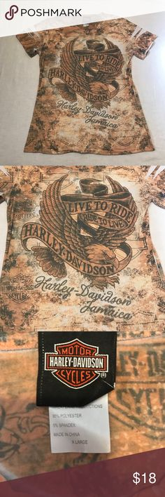 Harley Davidson Shirt Harley Davidson Jamaica Sublimation Print Top Harley-Davidson Tops Blouses