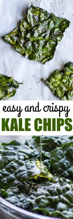 Crispy Kale Chips are crunchy and salty and the tastiest possible way to eat more greens! 2 ingredients and 20 minutes is all you need.