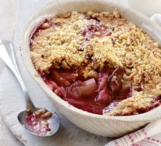 BBC's GoodFood:  Rhubarb crumble:  I made this on Thursday, it was gone by Saturday.  I used the other half of the rhubarb for compote over Sunday morning's pancakes - BOOM gone.