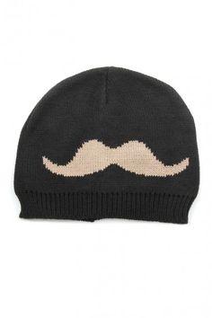 OMG Mustache Knit Beanie - Black / Camel