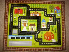 T's Simple Creations: Car Play Mats -- this is fabric already printed, not sure it's available anymore but like the idea of it!