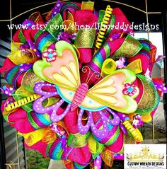 colored summer mesh wreaths with zebra | Bright Colorful Summer Butterfly Mesh Wreath por lilmaddydesigns