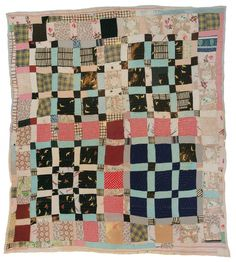 """Magdalene Wilson- """"One Patch"""" -c. 1940 Cotton 84 x 79 inches"""