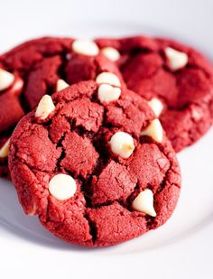 Red Velvet White Chocolate Chip Cookies for a Valentines or Christmas package.