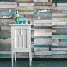 Scrapwood green - vintage tapet