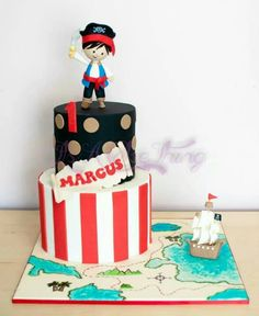 Pirate theme birthday cake on map baseboard