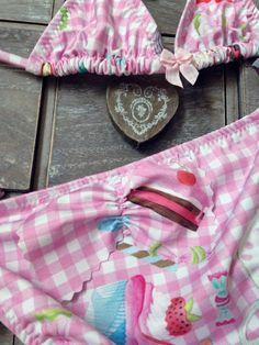 Girl Bikini 4-5-6-7-8 Print Vichy Kids Swimwear by GiuliaGaruti