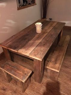 Reclaimed scaffold board table and benches Scaffold Boards, Diy Interior, Dining Table, Diy Design, Table, Barn Kitchen, Dining Room Decor, Table And Bench Set, Rustic Dining Table