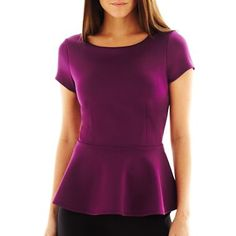 Bisou Bisou® Cap-Sleeve Scuba Peplum Top - jcpenney $14 Perfect top for the pants.  Also in white