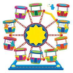 Ferris Wheel Job Chart Plus Bulletin Board Set, 2 Sets - Ashlyn's classroom - Carnival Bulletin Boards, Circus Theme Classroom, Summer Bulletin Boards, Kindergarten Classroom Decor, Classroom Birthday Board, Birthday Charts, Job Chart, Math Tools, Carnival Themes