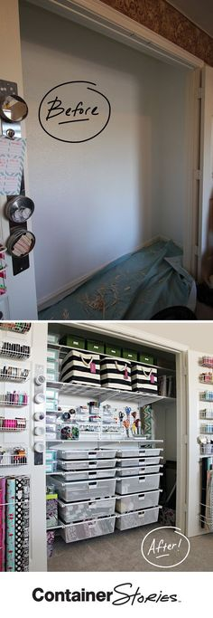 """See how a """"Ho-Humm"""" closet was turned into a crafter's dream with our elfa shelving and drawer system. See lifestyle and fashion blogger, Cassie Freeman's new elfa Craft Closet. Get the details on our blog."""