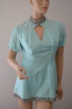 Amazing Silk Shatung Tunic Top Mini Dress Aqua by luvkitsch Vintage Outfits, Vintage Clothing, Tunic Tops, Girl Outfits, Silk, Clothes, Dresses, Fashion, Aqua